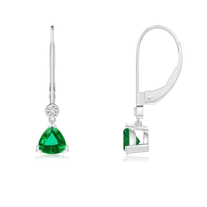 Angara Pear Emerald Leverback Drop Earrings in White Gold