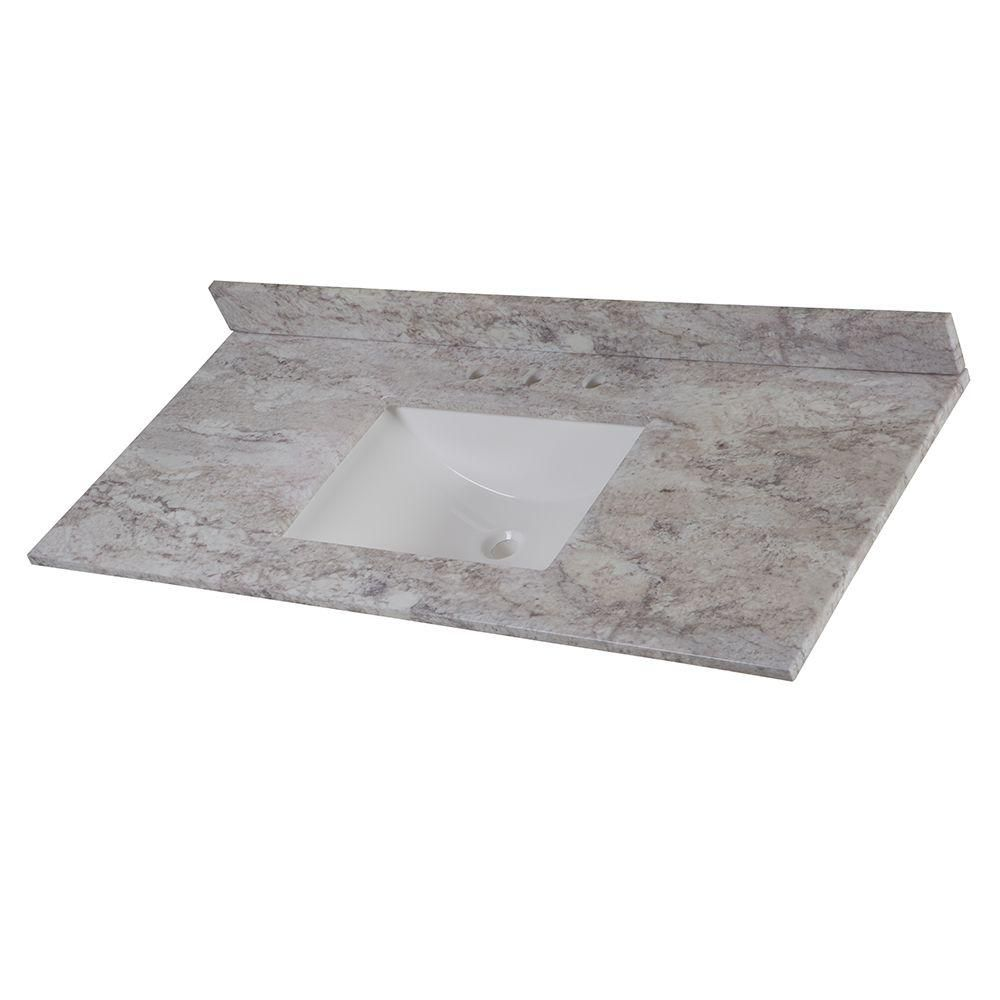 Home decorators collection 49 in stone effects vanity top in winter mist with white basin serst49 wm the home depot