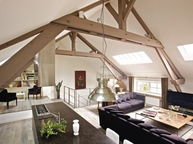 un loft dans une grange maison loft architecture pinterest grange r novation et. Black Bedroom Furniture Sets. Home Design Ideas