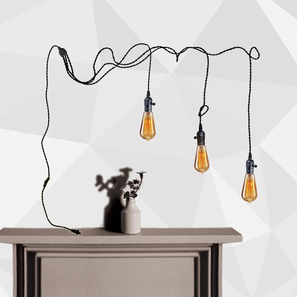 Fika Series 3 Light Plug In Pendant Cord Kit Vintage Swag Light In
