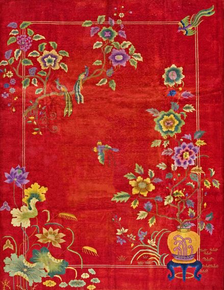 Antique Chinese Art Deco Rug With A Beautiful Floral
