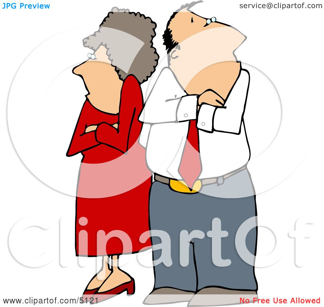 Fighting Couple Husband Amp Wife Standing With Arms Crossed