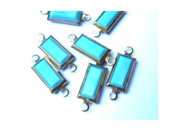 6 Vintage Swarovski Austrian crystal channel connectors beads rectangle channel turquoise beads. $4.50, via Etsy.