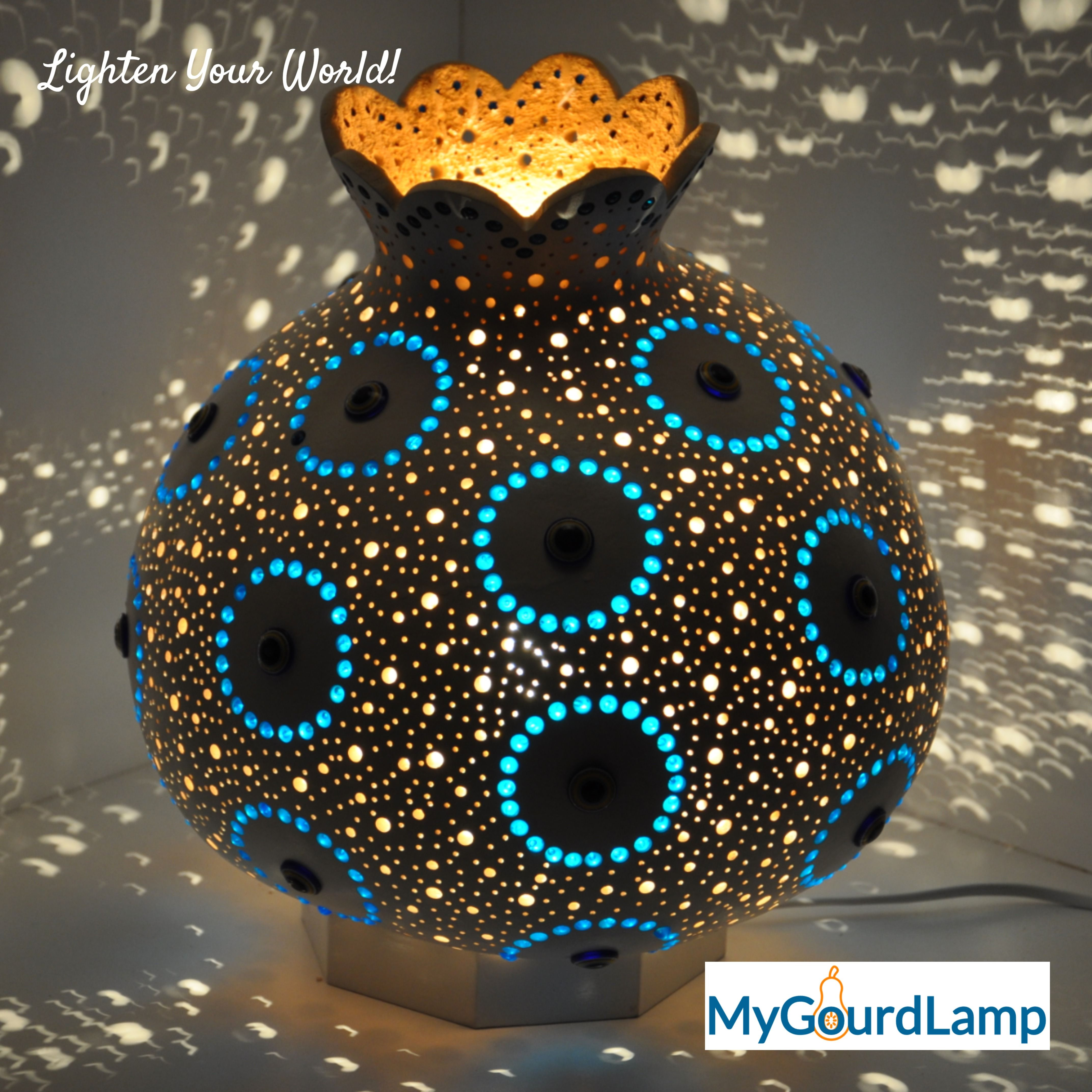 Traditional Turkish Evil Eye Talisman Handmade Gourd Lamp Etsy In 2021 Gourd Lamp Gourd Art Gourds