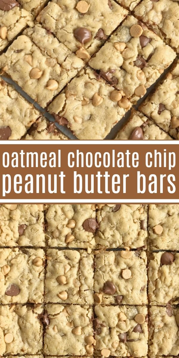 Oatmeal Chocolate Chip Peanut Butter Bars   Oatmeal chocolate chip peanut butter bars are a family favorite dessert that everyone loves  Soft cookie bars loaded with oatmeal, peanut butter, peanut but is part of Peanut butter cookie bars -