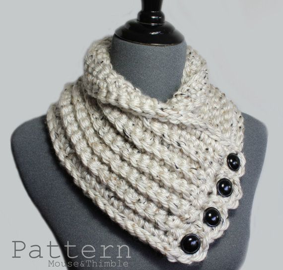 Button Cowl Bulky Tweed Quick & Easy Crochet by MouseAndThimble ...