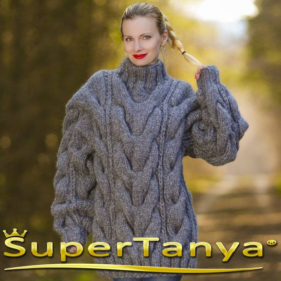 b0f1bfd55e Mega thick and heavy hand knitted mohair wool sweater in grey