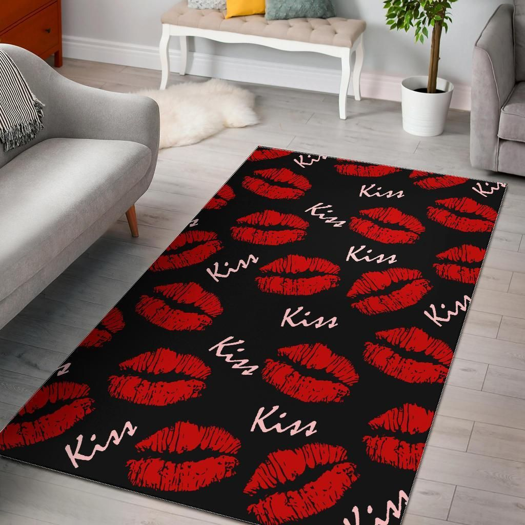 Red Lips Kiss Pattern Print Area Rug Carpet Sale How To Clean