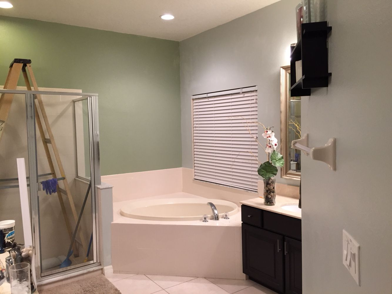 Accent Wall And Base Wall The Green Is Sherwin Williams Clary Sage Sw6178 Interior Satin And The Blues Silver Color Interior Bathroom Makeover Accent Wall