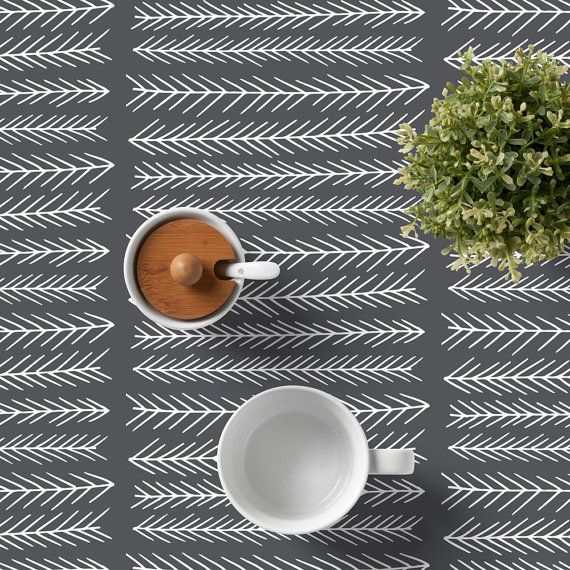 Scandinavian Tablecloth, Minimalist Tablecloth, Minimalist Dining Room,  Graphic Table Cloth, Grey Tablecloth
