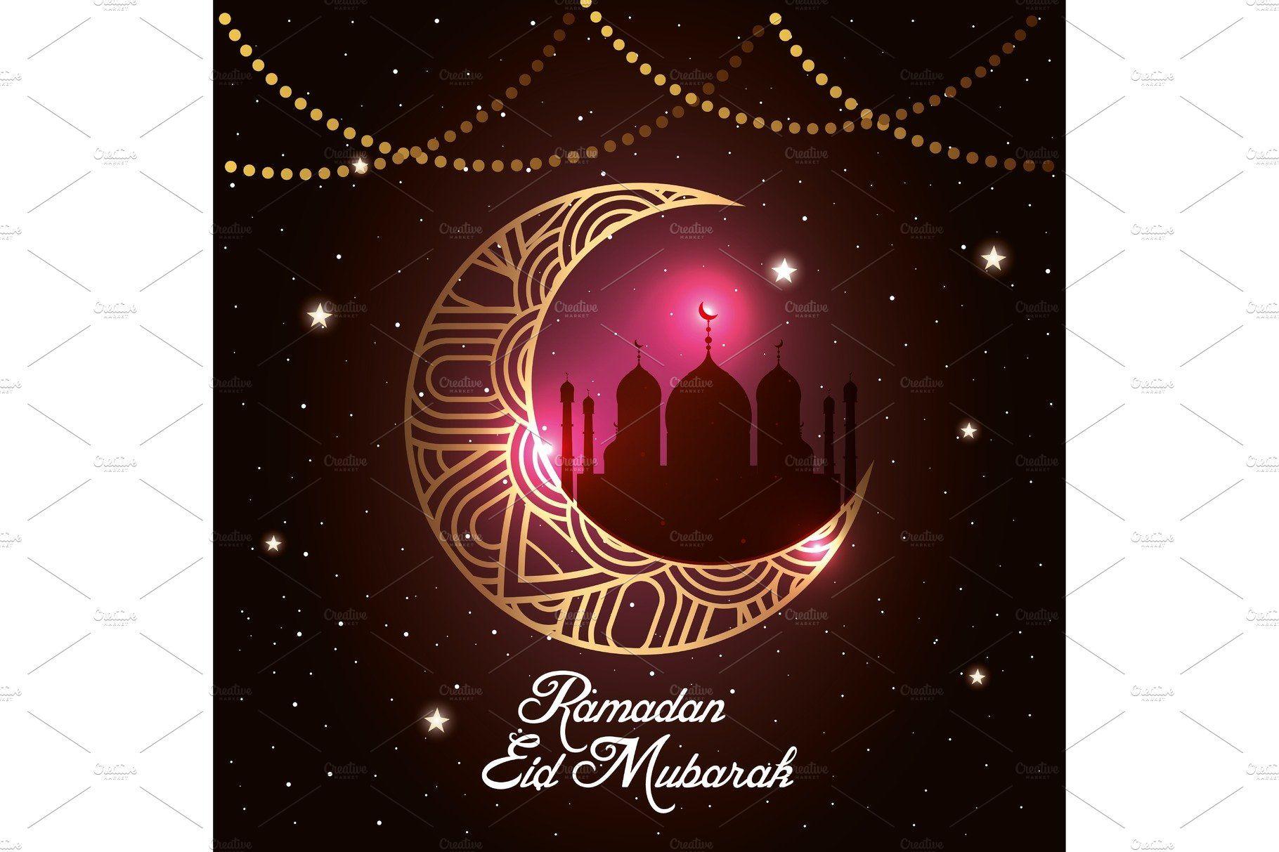 Ramadan Kareem Poster With Moon And In 2020 Ramadan Kareem Vector Illustration Design Ramadan