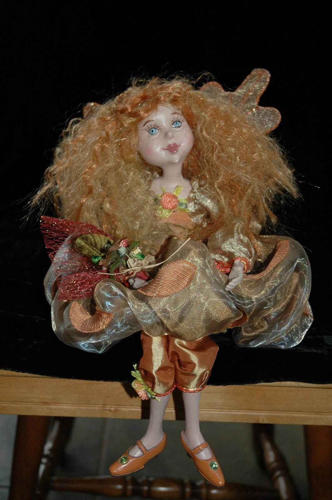 Whimsical Shelves Whimsical Fall Autumn Bendable Fairy Doll Shelf Sitter