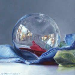 De holle bol   schilderij van een spiegelbol in olieverf van Adriana van Zoest   Exclusieve kunst online te koop in de webshop van Galerie Wildevuur