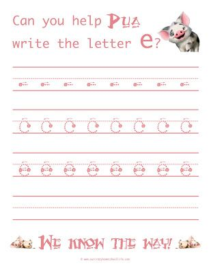 learn to write the letter e weekly free moana handwriting