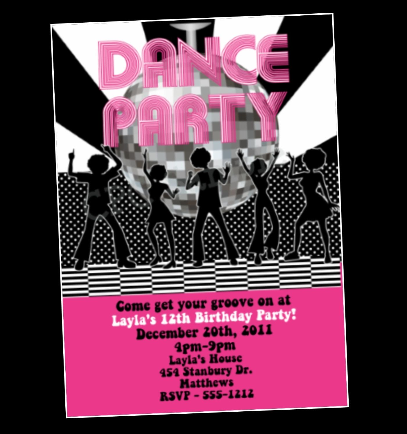 Disco Ball Invitation Dance Party Birthday Invitation Disco Dance ...