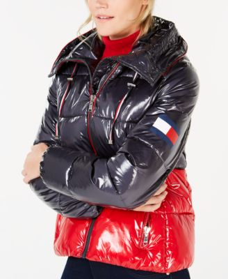 3f89c38e Tommy Hilfiger Hooded Colorblock Puffer Coat - Navy/red XS ...