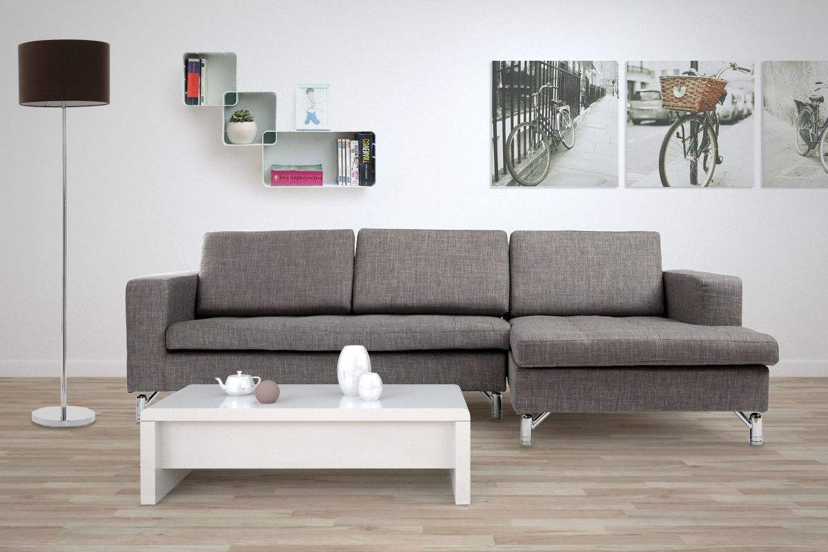 Divano angolare design grigio chiaro 3 posti angolo for Divano angolare 3 posti