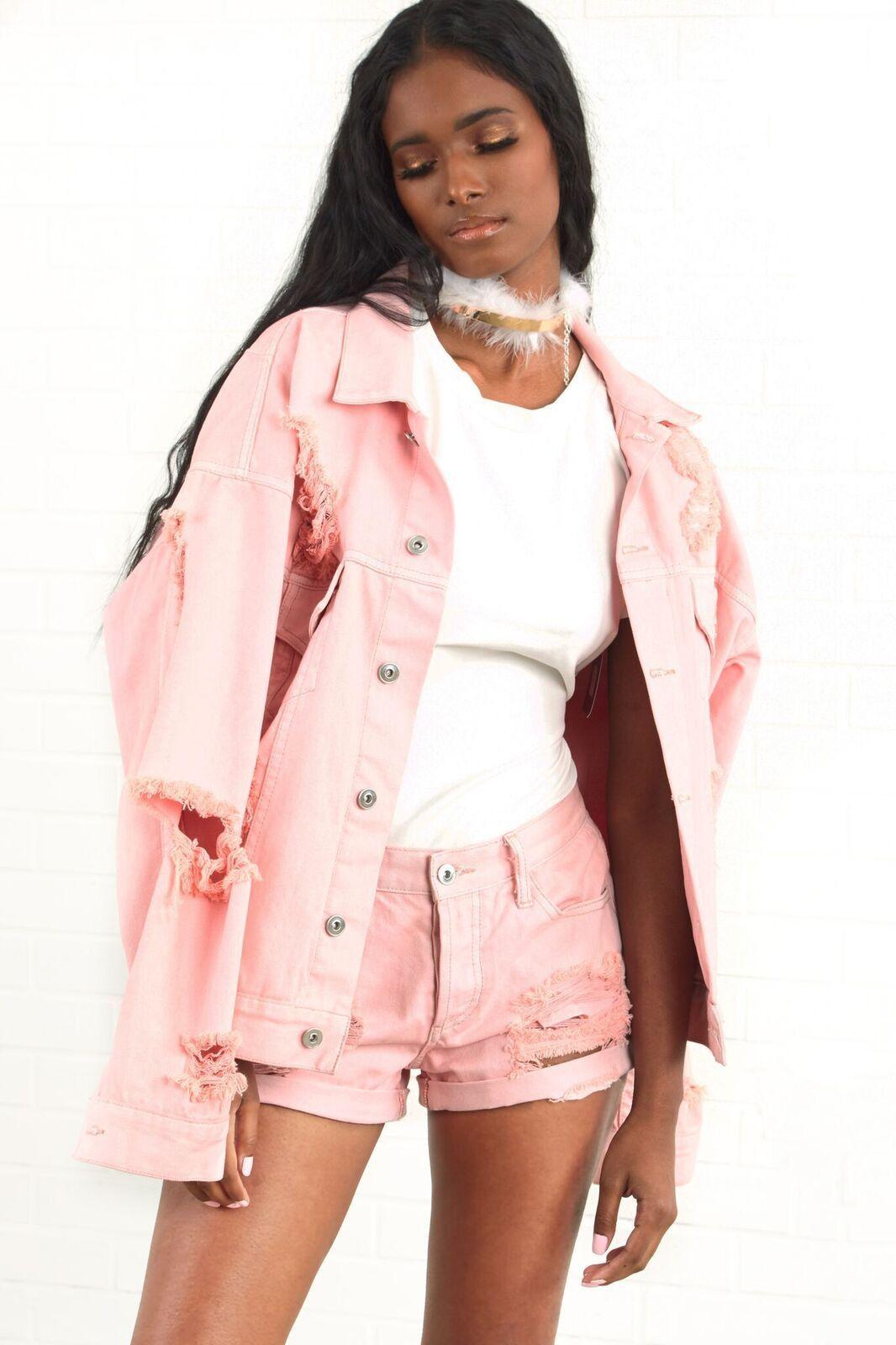 Girls Tour Pink Distressed Denim Jacket | Things Wanted | Pinterest
