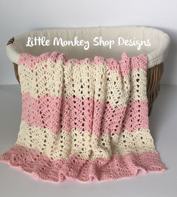 Pink and Cream Crochet Baby Blanket Baby by LittleMonkeyShop