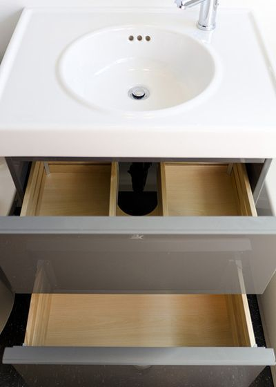 View Of Vanity Drawer Mod To Accommodate Plumbing Ikea Bathroom Storage Custom Bathroom Vanity Vanity Drawers