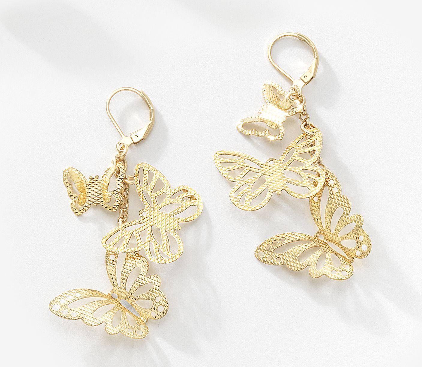 ecf24fc4e452 Encantadores aretes colgantes con diseño de mariposas con acabado de  filigrana