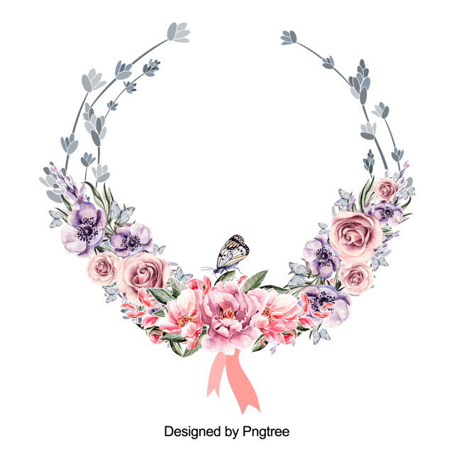 Beautiful Flower Wreath With Leaves Vector Design, Flower