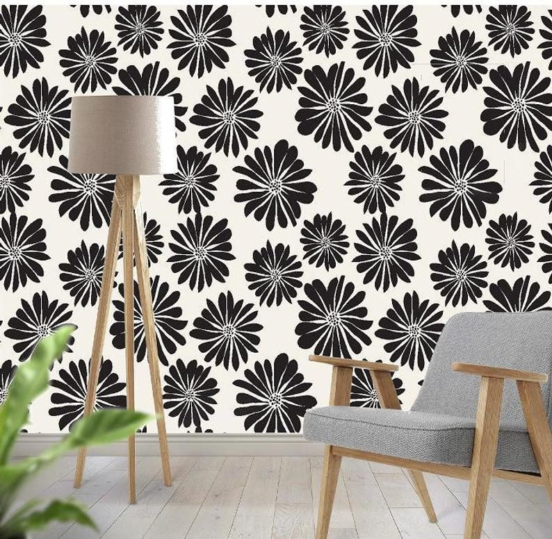 Retro Daisy Peel And Stick Wallpaper Removable Etsy Peel And Stick Wallpaper Wallpaper Wallpaper Rolls