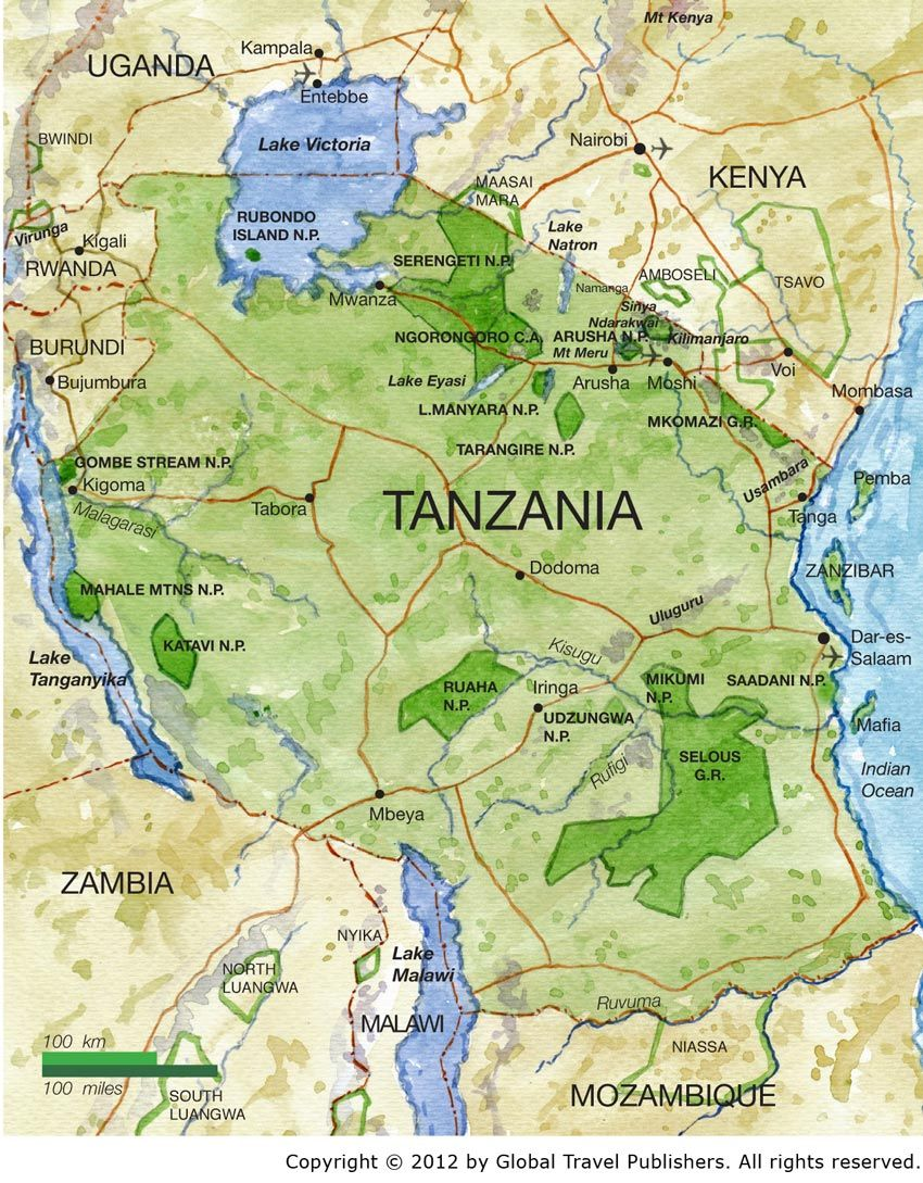 Tanzania Best African Safari Tours African Safari Tour Tanzania Africa Map