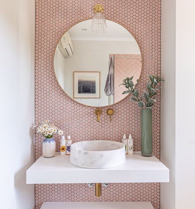 Pink and White Feminine Bathroom Design