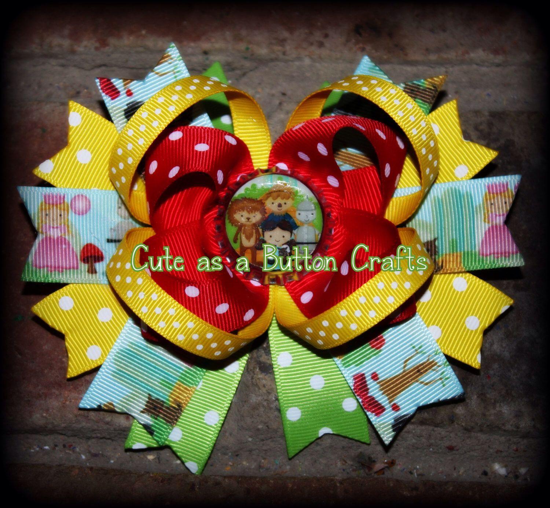 Adorable Wizard Of Oz Dorothy Inspired Boutique Hair Bow Boutique Hair Bows Button Crafts Diy Hair Bows