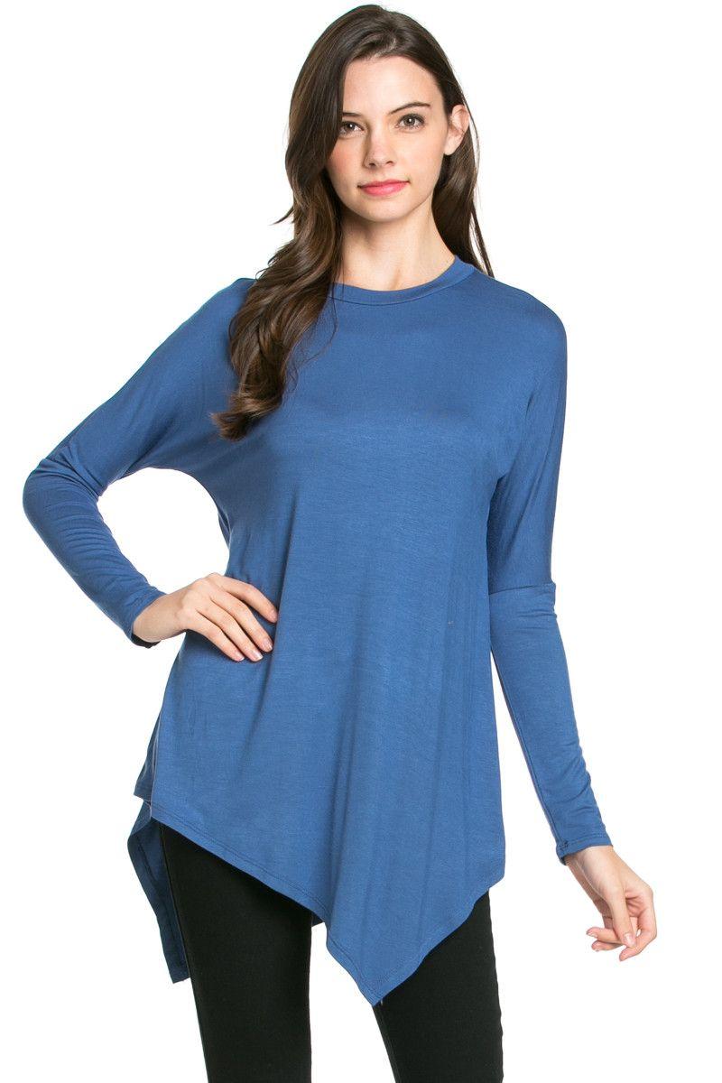 Long Sleeve Handkerchieft Hem Tunic Top Indigo Blue