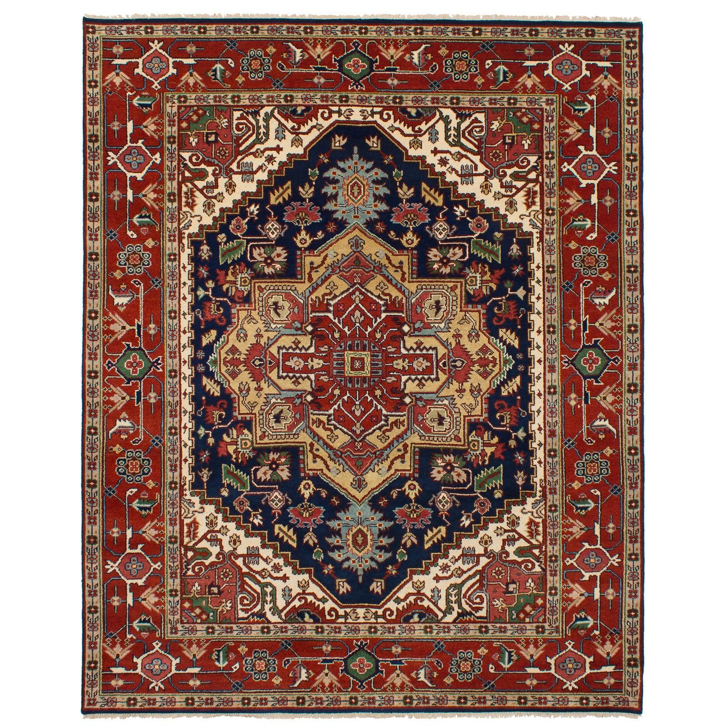 Ecarpetgallery Hand Knotted Serapi Heritage Blue Red Wool Rug 8 1 X 10 2 Rugs Area Rugs Red Rugs