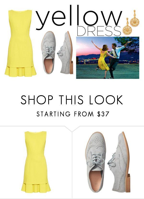 """La La Land yellow dress"" by krystalina123 ❤ liked on Polyvore featuring Oscar de la Renta and Gap"