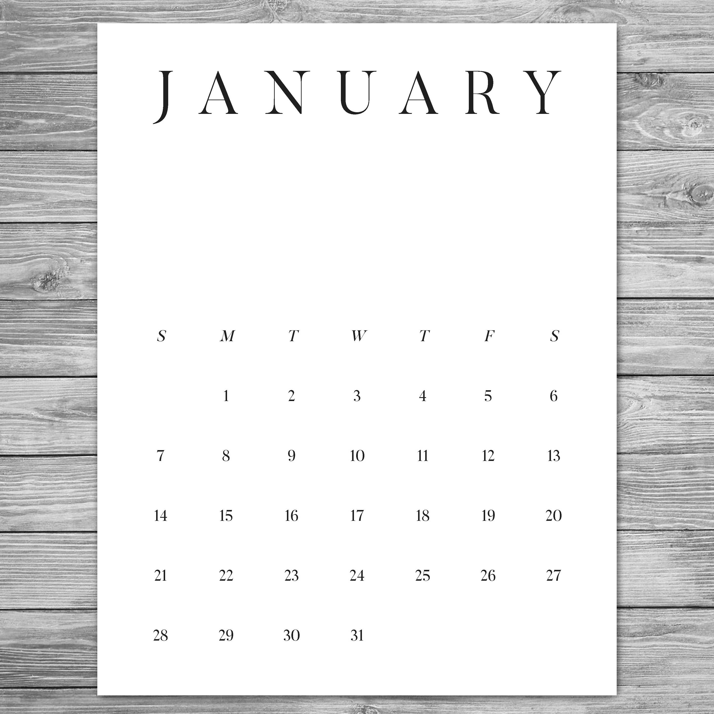 Printable Minimalist Monthly Calendar Desk Calendar