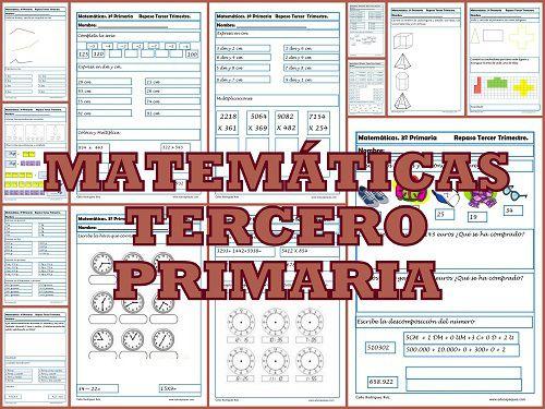 Ejercicios gratuitos de matemáticas para tercero de primaria. Más de 60 ejercicios para repasar Cálculo, Números y Medidas.
