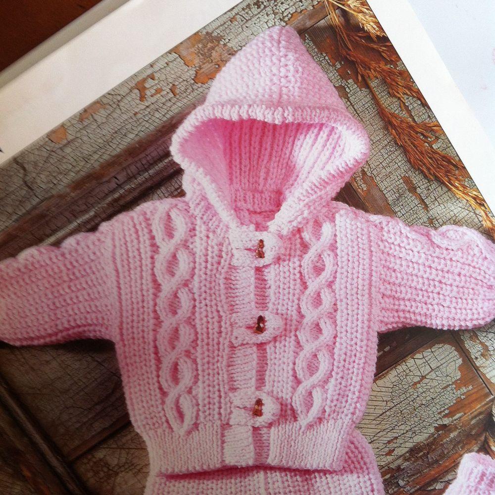 Baby Knitting Pattern Aran Jacket, Pants and Mittens Girls Boys 18 ...