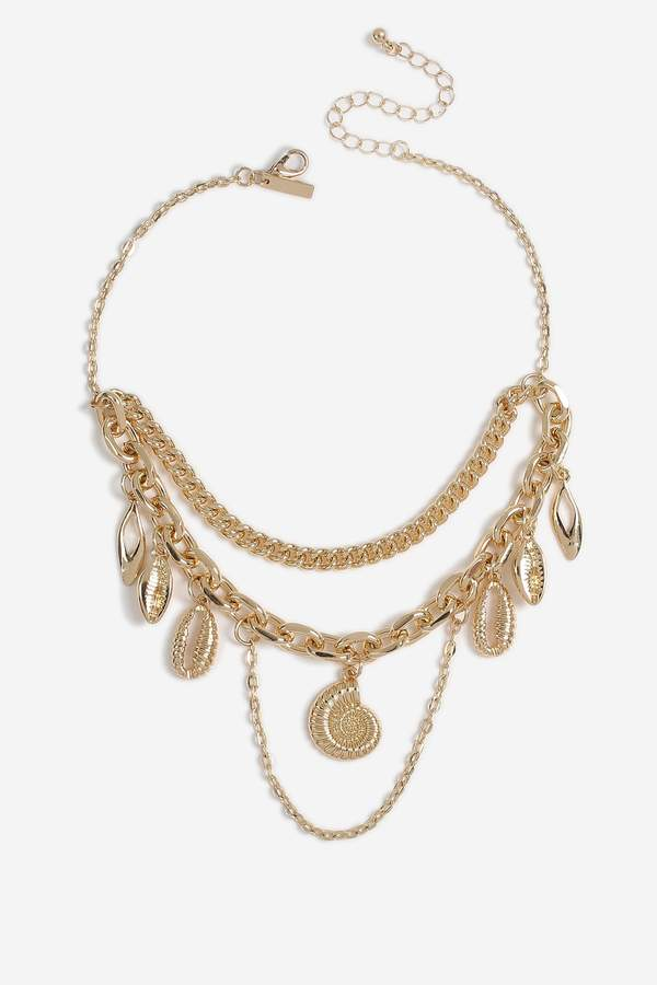 a6cc6afcb9495 Double Chain Shell Drop Choker in 2019 | Products | Chokers, Jewelry ...