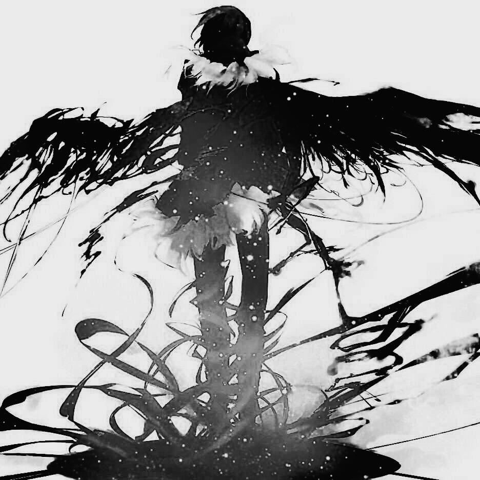 Looks like Izaya from Durarara | Monochrome Anime Boy | Fallen Angel black and white
