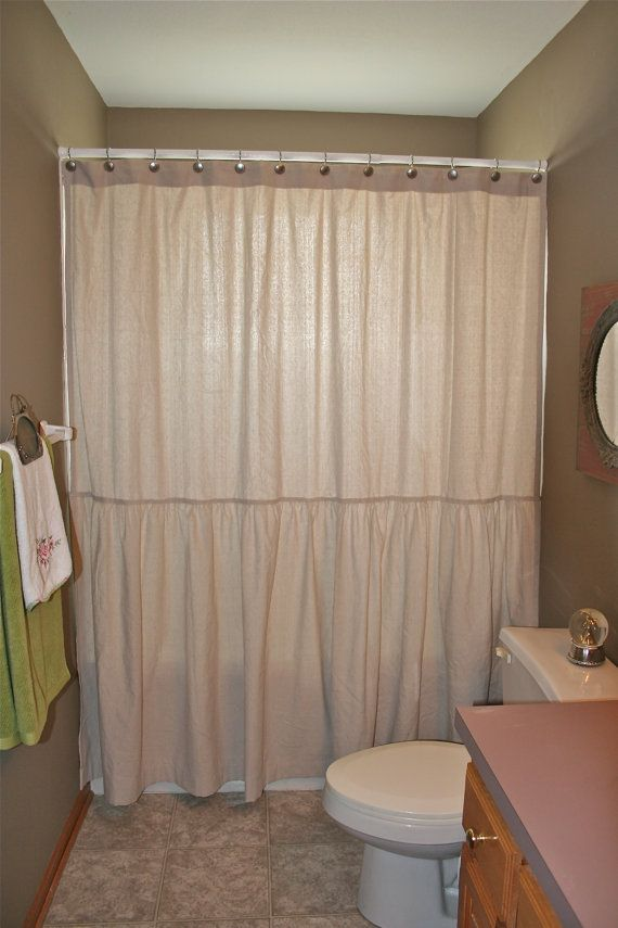 Drop Cloth Shower Curtain Long Ruffle DIY Ideas Beach Farmhouse BoHo Chic