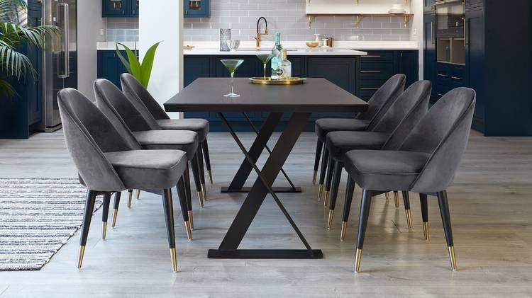 Clover Silver Grey Velvet Dining Chair Mid Century Chairs In 2020 Velvet Dining Chairs Midcentury Modern Dining Chairs Dining Chairs