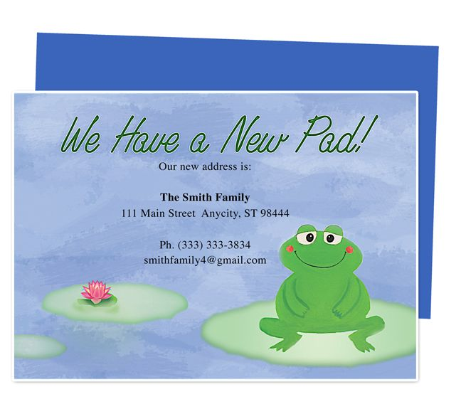 Moving Announcements And New Address Postcards Pad Froggy Printable Just Moved Card Template