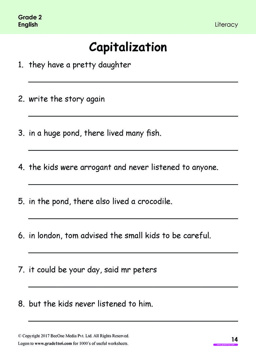 FREE english Worksheets for Grade 1through Grade 6