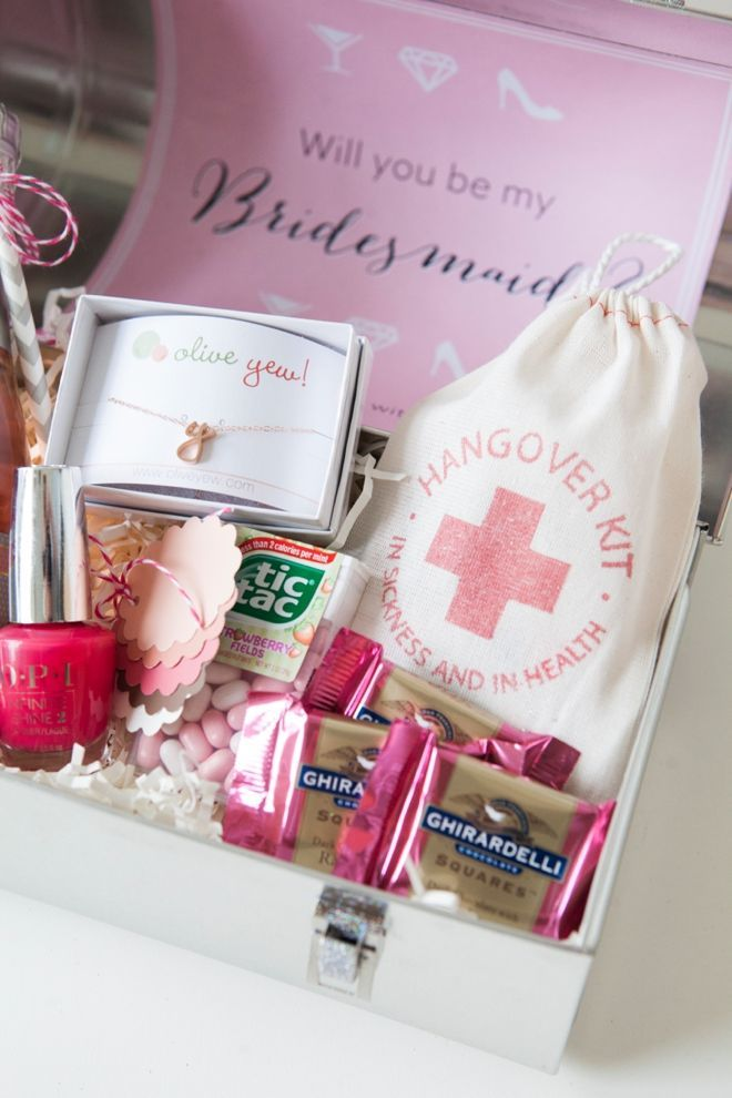 Will You Be My Bridesmaid Lunch Box Gift Idea With A Hangover Kit Bag From