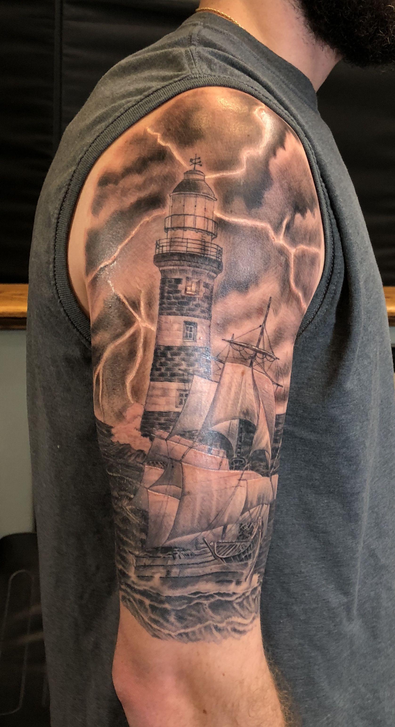 Lighthouse ship half sleeve tattoos tatto half sleeves