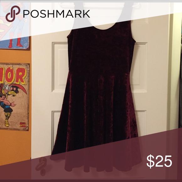 560e1615d243b Dark red velvet dress Dark red faux velvet dress. Hits around the knee on  me (I'm about 5' 6
