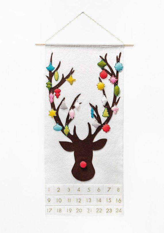 Reindeer Advent Calendar Pattern - Felt Countdown - Dashing Through the Snow with 24 Vintage Ornaments DIY #calendrierdel#39;aventcouture