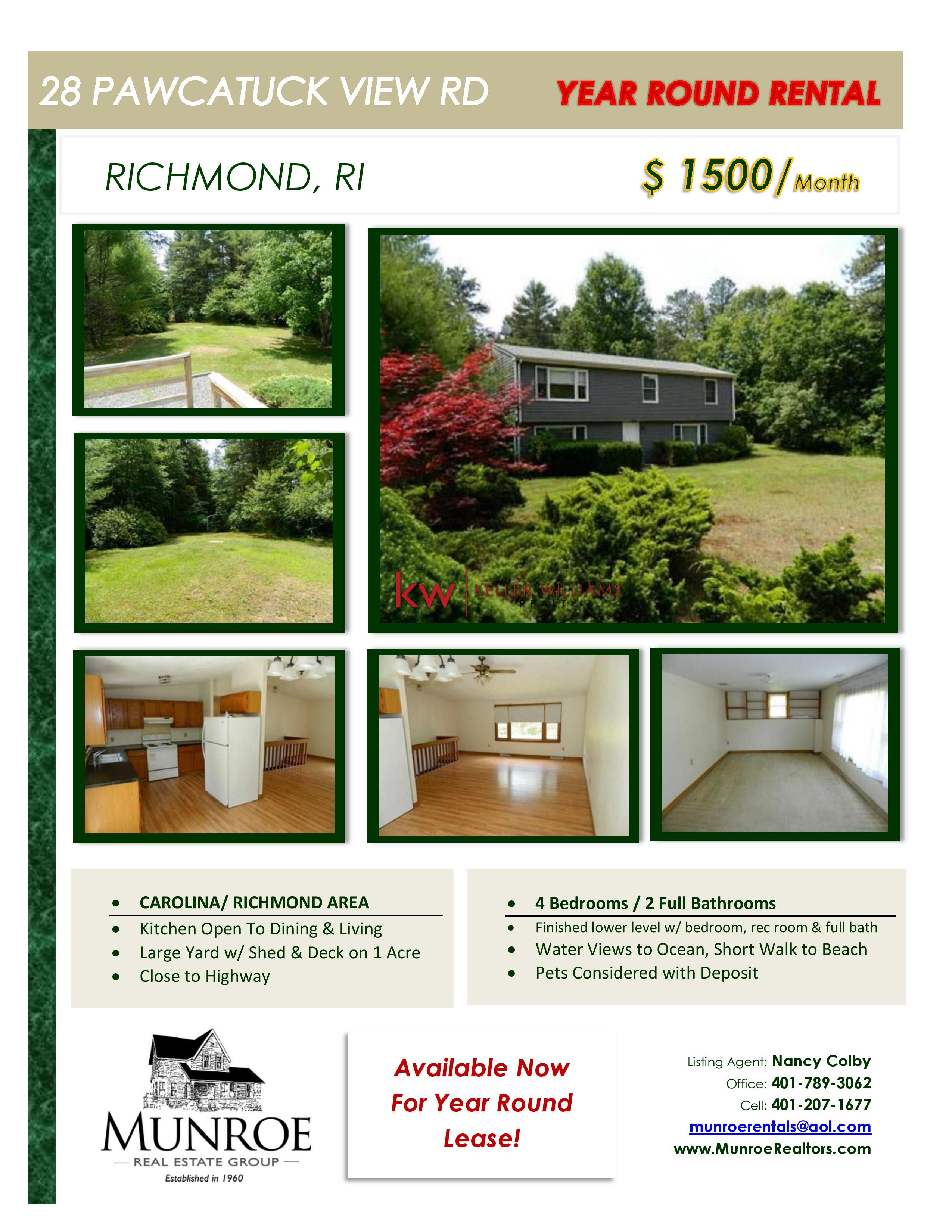 Great Year Round Rental in Richmond, RI. 4 Bedrooms and 2 Full Baths ...