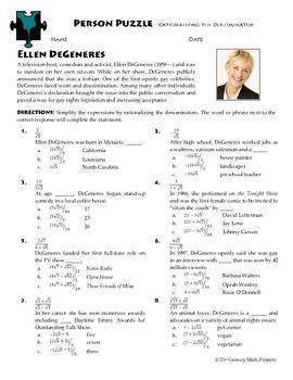 Person Puzzle Rationalizing Denominators Ellen Degeneres Ws