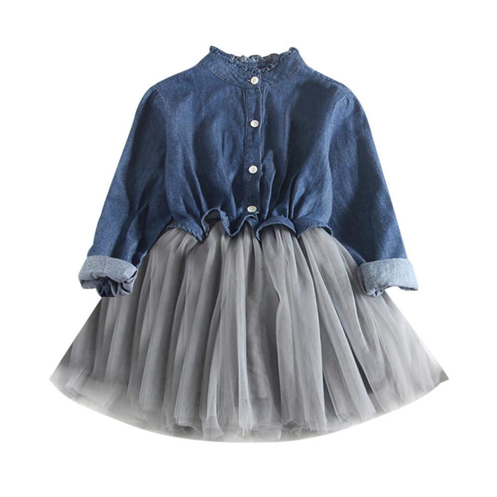 8a142f36bde8e Long Sleeve Denim Tutu Dress | Sweet & Sassy | Girls denim dress ...
