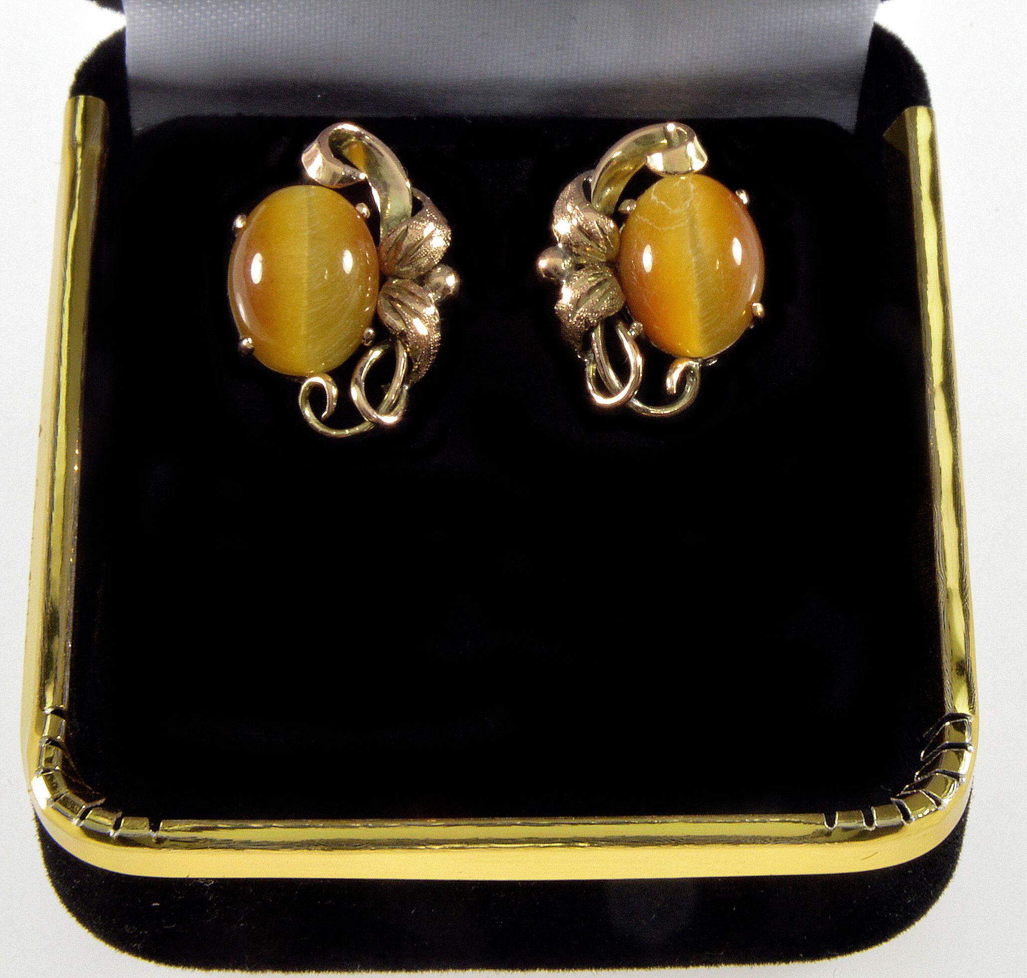 Antique Victorian 14K Gold Cat's Eye Chrysoberyl Earrings